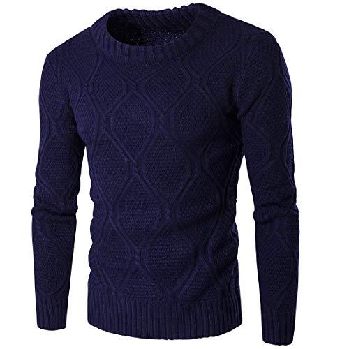 Sweat Longues Vêtements Épais Top Hommes Unie Mode Chic Blue Pullover Couleur Tricoté Casual Chandail Manches Navy Chauds Printemps Automne Tricotage À Nen 4n0zX0Tt