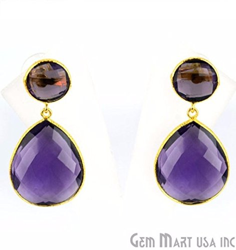 Choose Your Smooth Bezel Gemstone Stud Earring 24k Gold Plated Exclusively by GemMartUSA - Amethyst ()