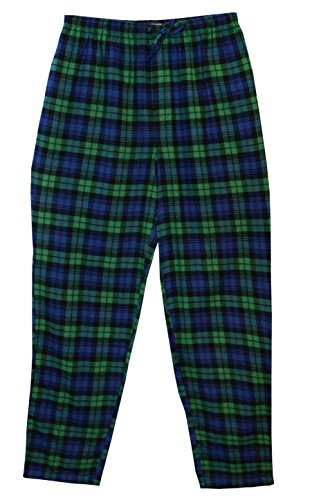 State O Maine Big and Tall Tartan Flannel Lounge Pant (Green 3X)