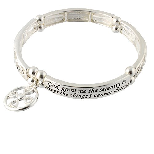 Heirloom Finds Serenity Prayer Christian Fish Cross Charm Stretch -