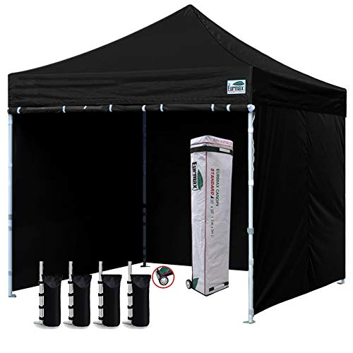 Eurmax 10 x10 Ez Pop-up Canopy Tent Commercial Instant Canopies with 4 Removable Zipper End Side Walls and Roller Bag, Bonus 4 SandBags Black