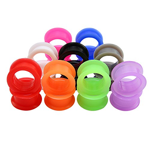 - 9 Pairs Mix Color Silicone Flexible Doble Flared Ear Plugs Tunnels Expander Ear Gauges Piercing (Gauge=7/8