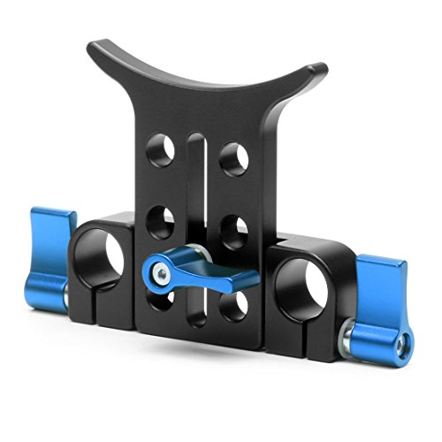 Long Lens Support Bracket for DSLR DSLR 5D2 7D 550D 600D Camera Shoulder Rig Height Adjustable with 15mm Rod Clamp Blue-011