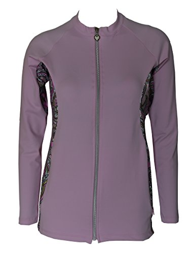 Private Island Hawaii Women UV Wetsuits Long Sleeve Rash Guard Top Zipper Jacket (X-Large, Pink with Pink Gold Spot)