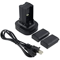 CostBuy XBOX 360 Dual Charging Station Quick Charge Dock Kit + 2 X360 Rechargeable Batteries