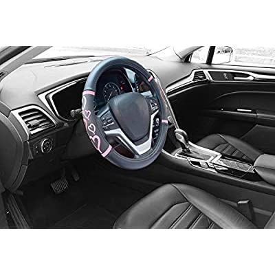 Didida Steering Wheel Covers for Women Men Couple New 3D Heart Embossing Love Cartoon Microfiber Leather Universal 15 Inch (Black): Automotive