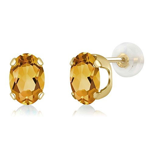 1.20 Ct Oval 7x5mm Yellow Citrine 14K Yellow Gold Stud (Antique Citrine Earrings)