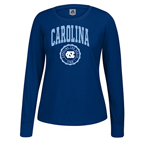 NCAA North Carolina Tar Heels Women's Athletic Seal Long Sleeve Essential Tee, XX-Large, Navy