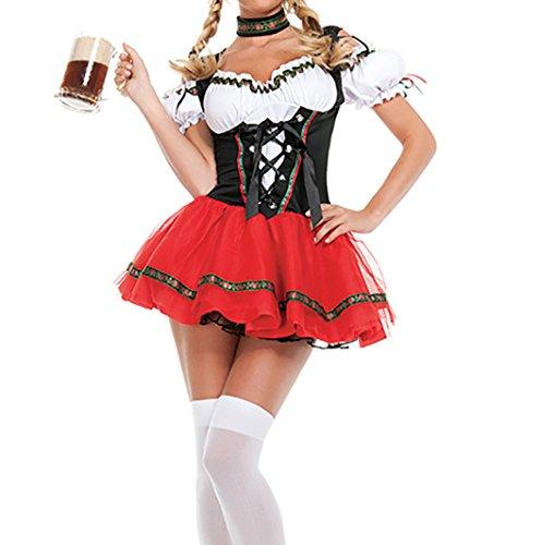 Damen Dirndl Oktoberfest Karneval Kostüm Fasching Reizvoll Trachtenkleid Cosplay Halloween Maid Kleid Restaurant-Overalls Schwarz mit Weiß Und Rot (EU34-38, Rot)