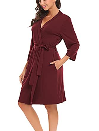 BLUETIME Women Robe Soft Kimono Robes Cotton Bathrobe Sleepwear Loungewear Short (S, Burgundy)