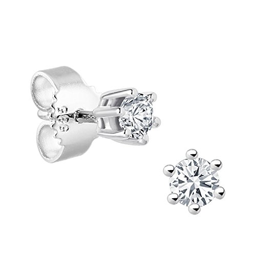 Diamond Line-boucles d'oreilles femme Solitaire or blanc 585 gr-Diamant 0.15 cts-blanc brillant - 117825