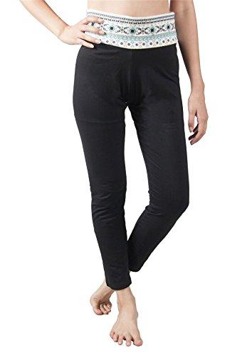 Design Yoga Bianca 1 Elastica Lofbaz Pantaloni Risvolto Cintura Donna q88EwzY