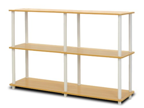 Furinno 99130BE/WH Turn-N-Tube 3-Tier Double Size Storage Display Rack, Beech/White (Small Open Shelf Unit compare prices)
