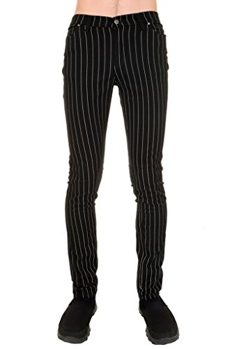 Mens Indie Vintage Retro 60s 70s Mod Black White Pin Striped Stretch Skinny Jeans 34 ()