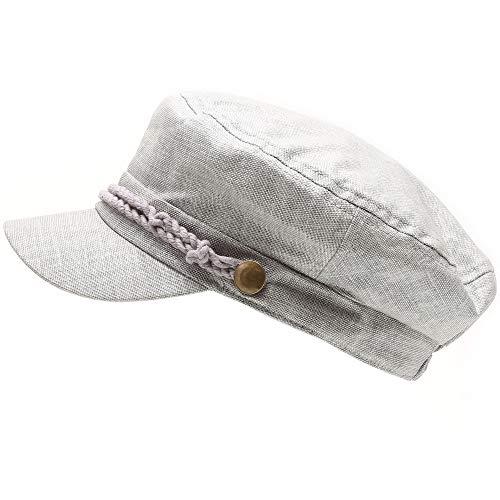 MIRMARU Women's Summer Linen Greek Fisherman's Sailor Newsboy Hats with Comfort Elastic Back (Light Grey) ()