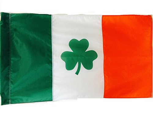 3x5 FT (Pole Sleeve) Double Sided Ireland Irish St Patricks Shamrock Clover Leaf WindStrong Flag (Sewn Stripes) Deluxe Outdoor SolarMax Nylon Flag Made in the USA