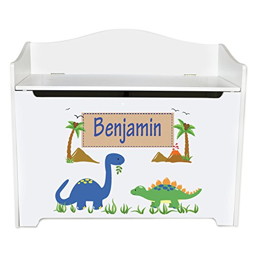 Personalized Dinosaurs Toy Box Bench Custom Personalized Toy Bin