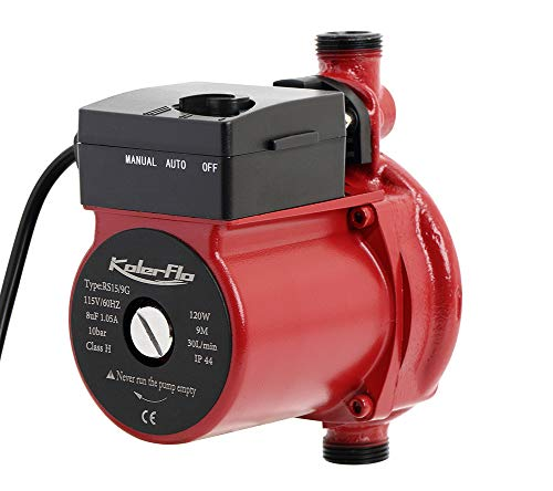 KOLERFLO 110V Water Recirculation Pump 120W Automatic Circulation Pump/Circulator Pump for Water Heater System(RS15-9 Red)