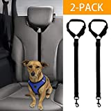 XMSSIT Dog Leashes for Car Headrest, Dog Cat Safety Seat Belt Strap Car Headrest Restraint Adjustable Nylon Fabric Dog Restraints Vehicle Seatbelts Harness 2 Packs