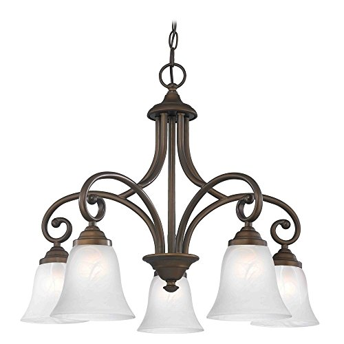 - Chandelier with Alabaster Glass in Bronze Finish