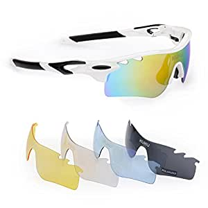 FiveBox Polarized U.V Protection Sports Glasses ,Cycling Wrap Sunglasses with 5 Interchangeable Lenses Unbreakable for Riding Driving Fishing Running Golf And All Outdoor Activities With Retail Package-Black And White.