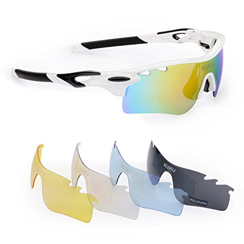 FiveBox Polarized U.V Protection Sports Glasses ,Cycling Wrap Sunglasses with 5 Interchangeable Lenses Unbreakable for Riding Driving Fishing Running Golf And All Outdoor Activities With Retail Package-Black And White. by FiveBox