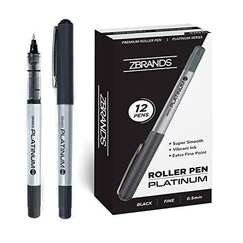 ZBRANDS // Platinum Rollerball Pens, Pack of 12, 0.5mm Micro Point (Midnight Black) (Classic Liquid Ink)
