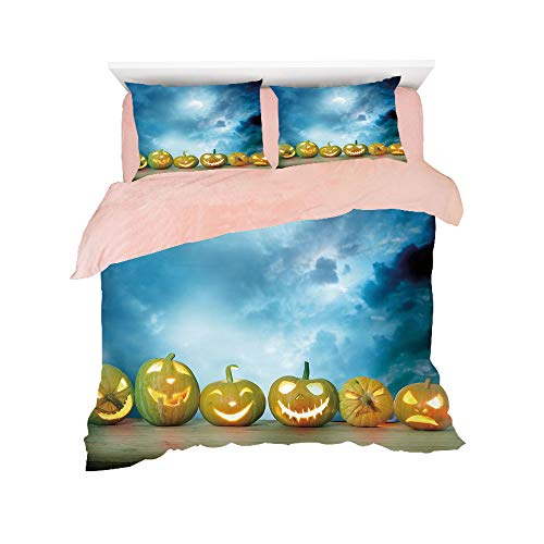 Flannel Duvet Cover Set 4-Piece Suit Warm Bedding Sets Quilt Cover for bed width 5ft Pattern Customized bedding for girls and young children,Halloween,Spooky Halloween Pumpkins on Wood Table Dramatic -