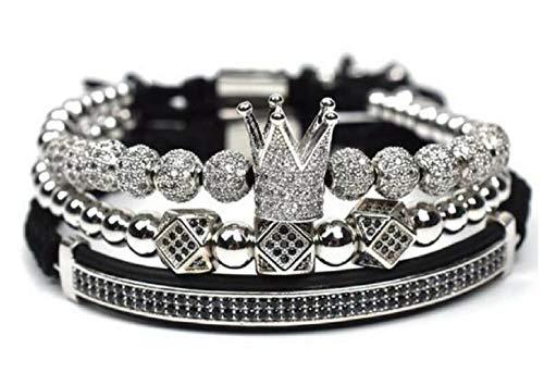 Beaded Silver Bracelet Plated Stretch (KOKOSHELL Royal Crown Jewels 3PCS Set - Gold/Silver Bracelets (Silver))