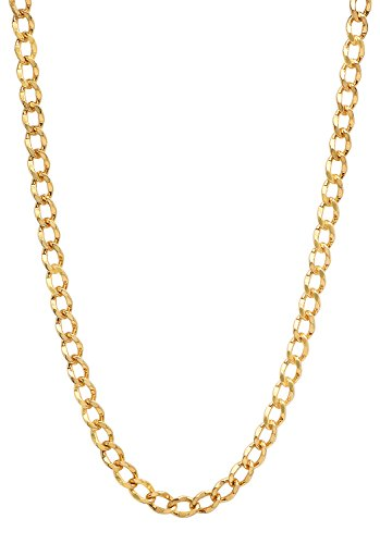 4.7mm 25 mills 24kt Gold Plated Curb Link Chain Necklace, 22 -
