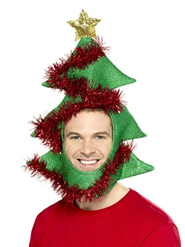 Novelty Christmas Tree Hat, Green Red Tinsel, One Size -