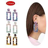 Eternity J. 3 Pairs Geometric Acrylic Resin Statement Earrings Dangle Drop Earrings for Women