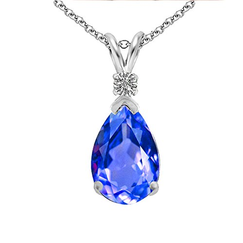 Diane Lo'ren 925 Sterling Silver 4.00 CTW Diamond Accent Blue Tanzanite Pear Shaped Pendant Necklace for Women || The Perfect Gift for Mother's Day (Tanzanite Pendant)