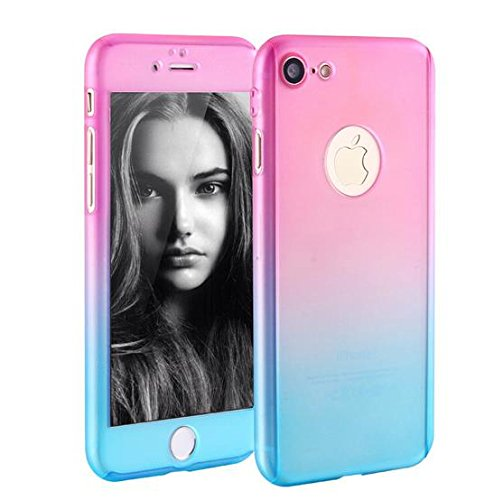 Price comparison product image iPhone 7 Plus 5.5 Inch Full Body Hard Case-Auroralove 360 Degree Full Protective Slim Sleek Front Back Case for iPhone 7 Plus 5.5 Inch with Tempered Glass Screen Protector(Pink+Blue)