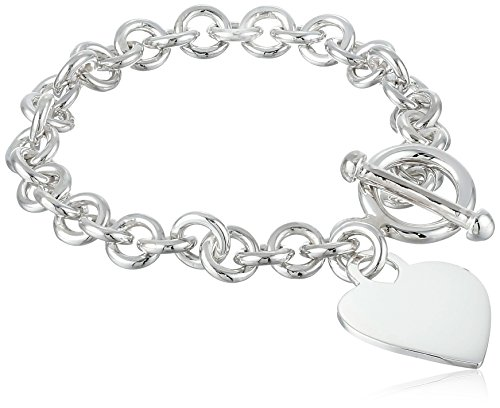 Zina Sterling Silver Contemporary Collection Heart Tag (Heart Tag Toggle Bracelet)