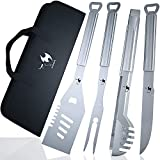Kona BBQ Grill Tools Set with Case - 18' Long to Keep Hands Away from Heat, Premium Stainless Steel Grilling Utensils with Bottle Opener Handles - Makes A Great Gift