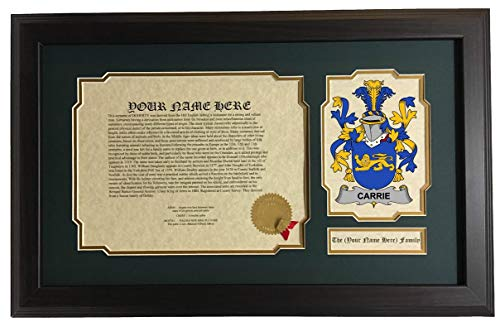 Carrie - Coat of Arms and Last Name History, 14x22 Inches Matted and Framed ()