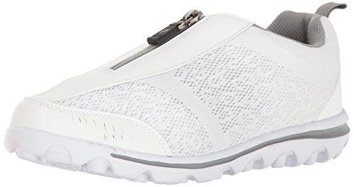 Propet Women's Travelactiv Zip Walking Shoe White/Silver