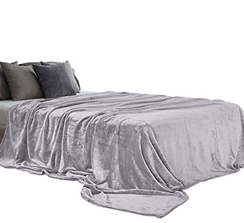 (Aidear 100% Super Soft Blankets Queen Size, 350GSM Flannel Fleece Cozy Plush Blanket Winter Warm Bed Couch Fuzzy Blanket (90