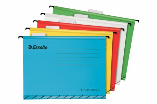 Esselte Pendaflex A4 V Bottom Suspension Files with 4 Tab Divider Book - Blue (Box of 10) A4