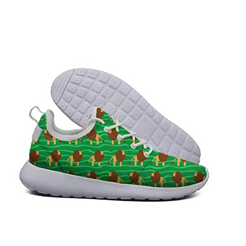 Green ERSER Women Cartoon Shoes Cartoon Lion Wide Lightweight Running Lion Green U8wUqFT