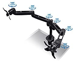 Mount-it! Dual Monitor Desk Mount Swivel Arm, Quick Connect with Combo Grommet and Clamp Base (MI-43111-BLK)