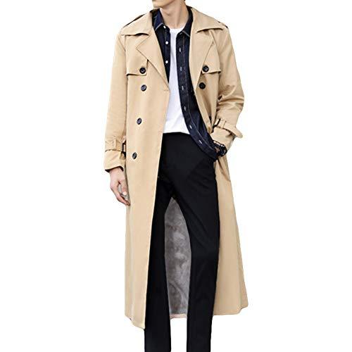 Pantete Man's Double Breasted Trench Coat Oversized Casual Windbreaker Lapel Long Jacket Plush Overcoat.