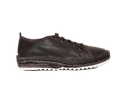 Agilis Barcelona Nervion - Dames Geregen Bamboe Leer Zomer Espedrille Schoenen Mode Sneakers Met Memory Foam Binnenzool Zwart