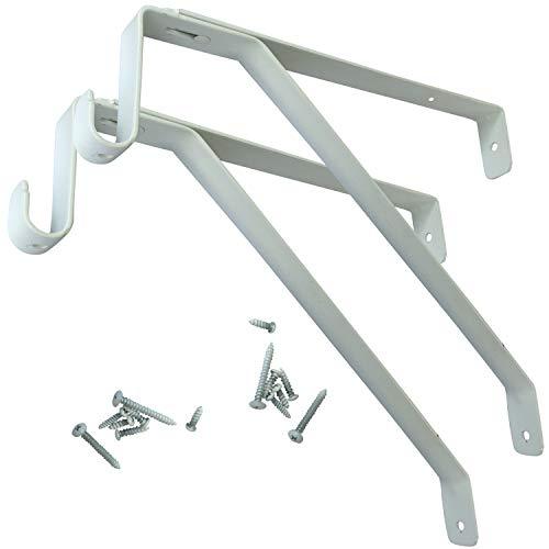 Desunia Oval Closet Rod Shelf Bracket - Adjustable for Rear Cleat Strip - White - 2 Pack (Shelf Brackets Closet And Rods)