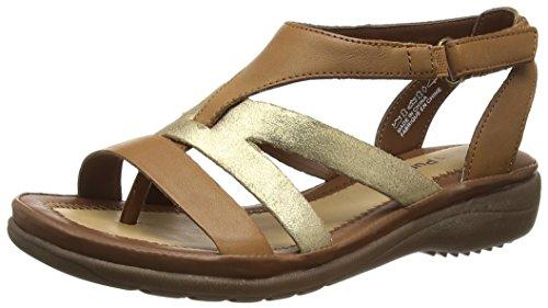 - Hush Puppies Women's Maben Keaton Wedge Sandal, Tan Leather/Metallic Suede, 7.5 M US