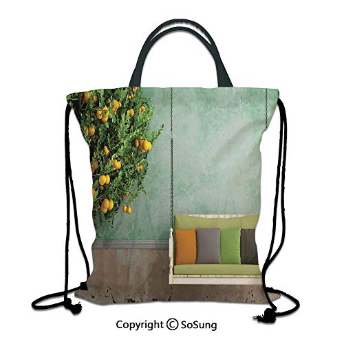 (Country Home Decor 3D Print Drawstring Bag String Backpack,Vintage Wooden Swing in the Garden of an Old House with a Lemon Tree Summertime,for Travel Gym School Beach Shopping,Yellow)