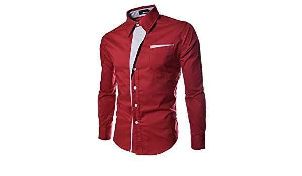 Amazon.com : Casual Men Shirts Long Sleeve Camisa Masculina Camisetas Social Roupas Blusas Slim Fit Casual-shirts for Male Clothing (M, Red) : Baby