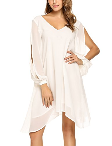 2017 Summer New Women Loose Dress Beach Casual Dress Cut-off Asymmetric Hem Chiffon Zeagoo,White,X-Large
