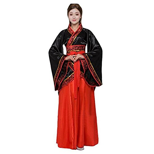 Ez-sofei Women's Ancient Chinese Han Dynasty Traditional Costume Set Hanfu Dresses (S, F-black&red) -